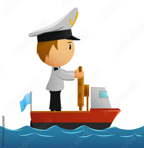 Cartoon captain sailor in uniform on the ship