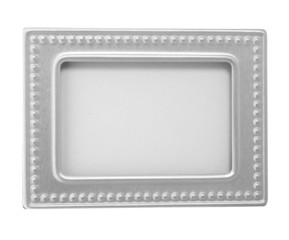 Empty silver picture frame  with a decorative pattern