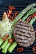 Beef burger with asparagus