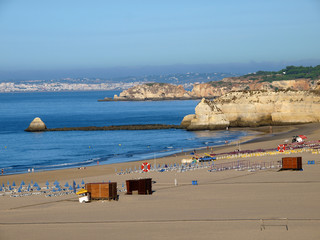 Morning on Beach of Praia da Rocha in Portimao, Algarve