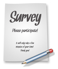 "Paper & Pencil Illustration ""Survey - Please participate!"""
