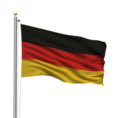 Flag of Germany waving in the wind in front of white background