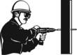Drill Operator Vinyl Ready Vector Illustration