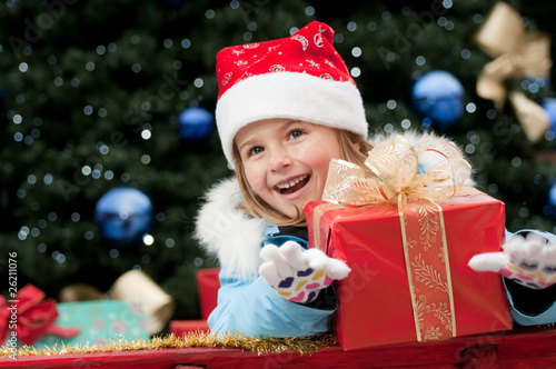 Little Santa Claus with present