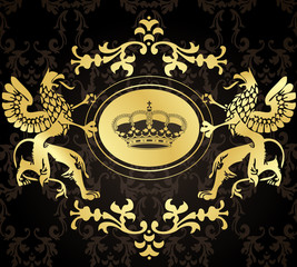 Golden Coat of Arms with Griffins vector background