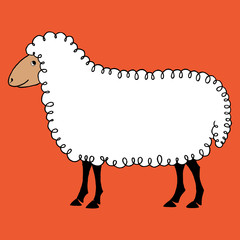 Sheep vector background hand draw cartoon