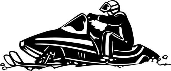 Snowmobile Vinyl Ready Vector Illustration
