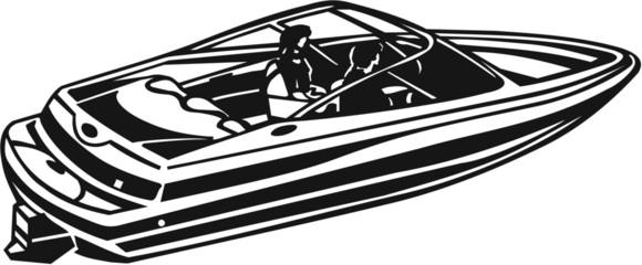 Power Boat Vinyl Ready Vector Illustration