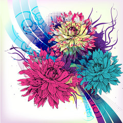 colorful chrysantemums with ribbons and swirls