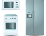 Cooking stove, microwave oven and refrigerator side-by-side