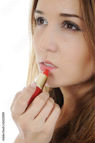 Portrait of a beautiful woman with lipstick