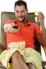 Young attractive caucasian man, relaxing