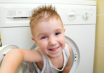 small boy from washer