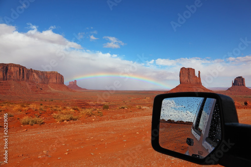 Red Desert  it reflected in the car mirror