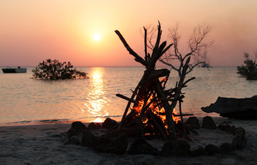 camp fire on the beach