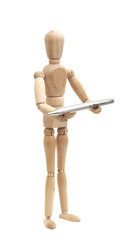 wooden mannequin holding pen
