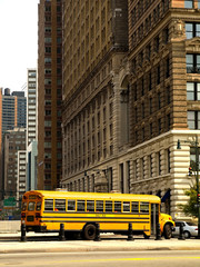 School Bus in the streets of Manhattan