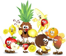 Frutta Mista Cartoon-Humorous Mixed Fruits-Vector