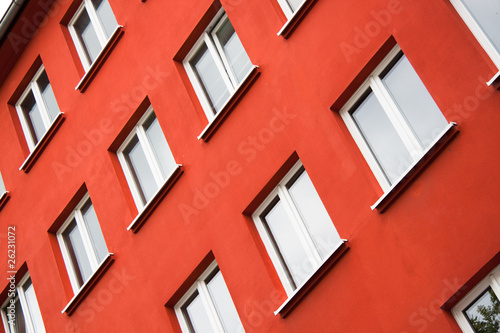 red wall of a modern building