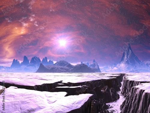 Leinwandbild Motiv Earthquake Chasm on Alien Ice Planet