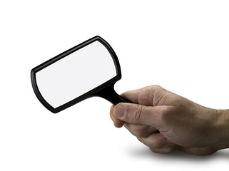 hand with magnifying glass isolated (clipping path)