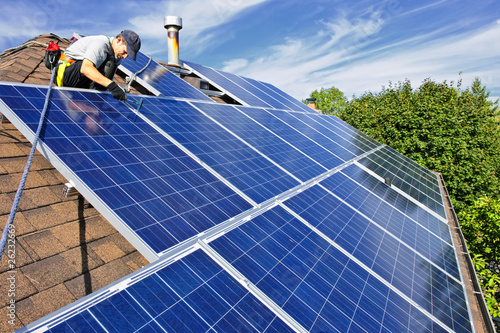 canvas print picture Solar panel installation