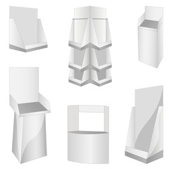 set of new 6 white display. vector illustration