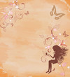 grunge background with a fairy