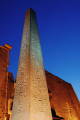 The huge obelisk at the entrance to Luxor Temple.