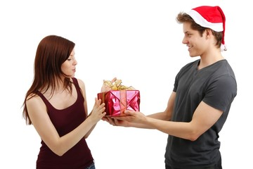 beautiful young couple with a present (white background)