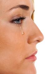 Traurige Frau weint Träne. Symbolphoto Angst und Gewalt