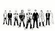 Animation noir et blanc business groupe de gens