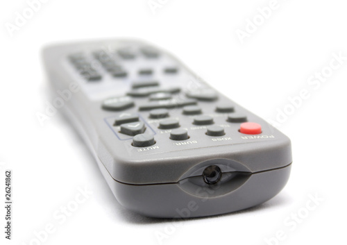 TV remote control. Selective focus limited to front objects.