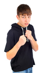 teenager in boxer pose isolated on the white