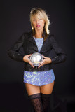 Blond woman with discoball poster
