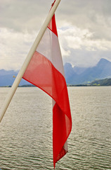 Alps - View From Boat With Austrian Flag