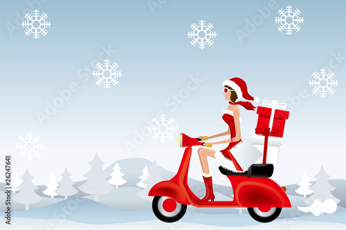 Santa Scooter Girl