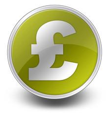 """Yellow Glossy Icon """"British Pound"""""""