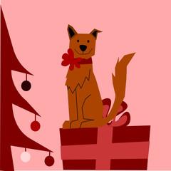 sfondo natalizio con cane