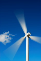 Blue sky and wind turbine