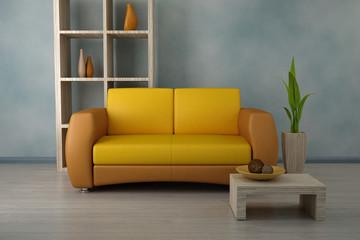Orange sofa in modern room. Design interior