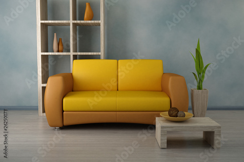 Orange sofa in modern room. Design interior