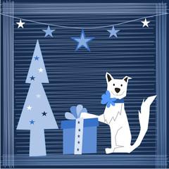 cane con regalo
