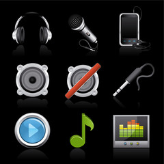 audio premium icons on black