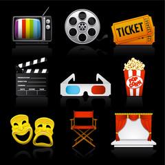 movie entertainment icons on black