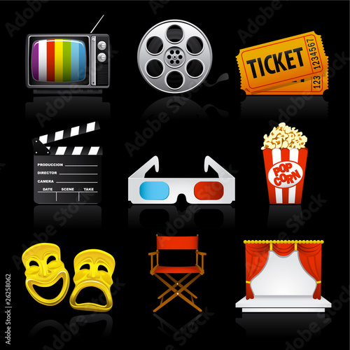 movie entertainment icons on black