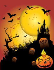 castillo embrujado halloween vector