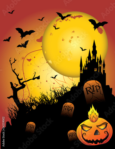 castillo embrujado halloween vector
