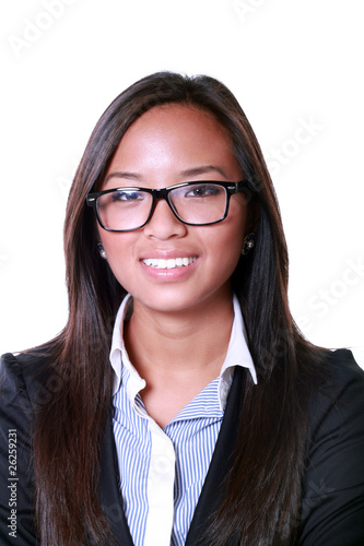 Smiling asian business woman. Isolated over white background