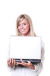 buisinesswoman holding a laptop isolated on white background